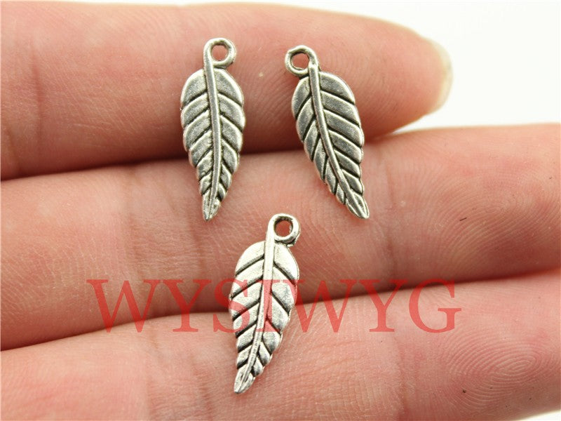 WYSIWYG 10pcs 20x7mm Small Leaf Charms Metal Leaf Charms Antique Silver Color Leaf Charm For Jewelry Making
