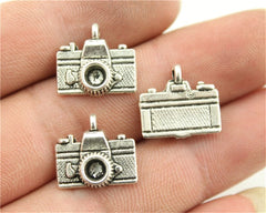 WYSIWYG 10pcs 15x14mm 2 Colors Antique Silver, Antique Bronze Plated Pendant Camera Charm Camera Pendant Antique Silver Camera