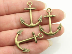 WYSIWYG 6pcs 31x25mm 3 Colors Antique Gold, Antique Silver, Antique Bronze Anchor Charms For Jewelry Making