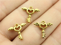 WYSIWYG 10pcs 15x14mm 2 Colors Antique Silver Antique Gold Angel Wings Key Heart Charms Pendant For Jewelry Making