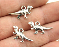 WYSIWYG 6pcs 20x12mm Antique Silver, Antique Bronze Dinosaur Charms Dino Charms Small Dinosaur Charms