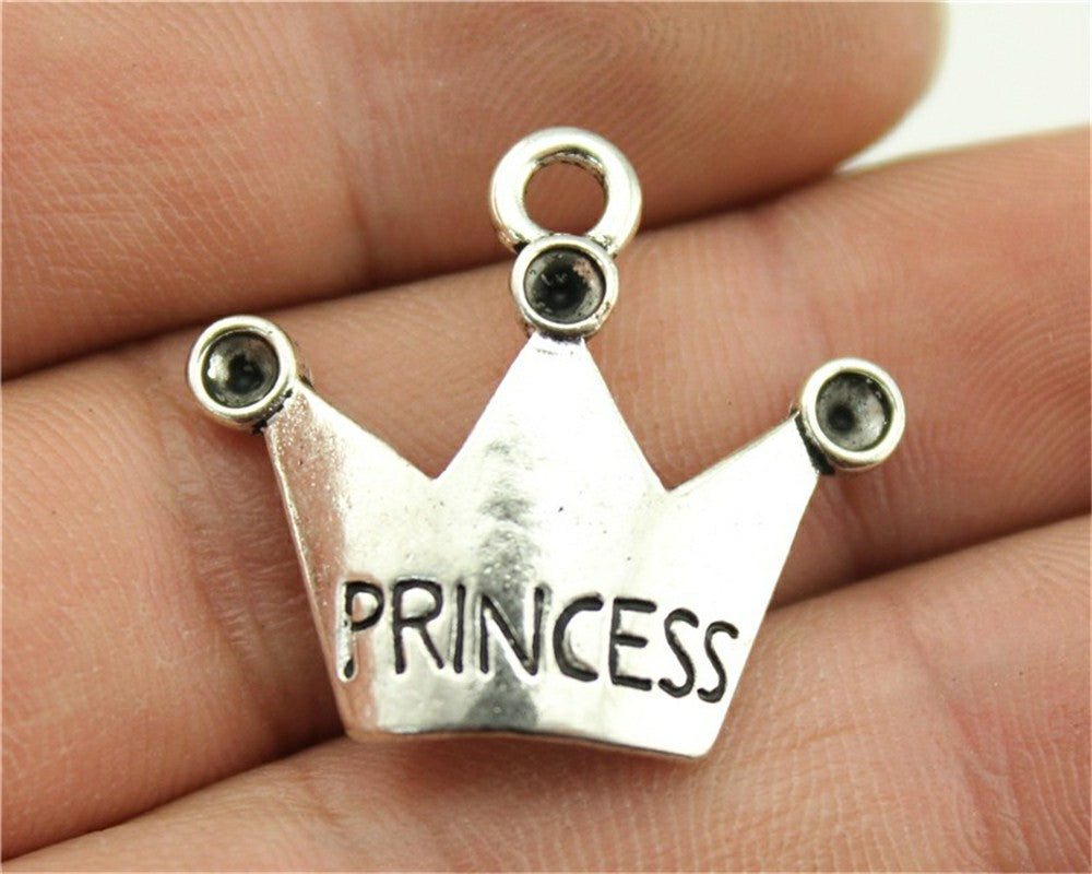 WYSIWYG 8pcs 25x28mm Crown Princess Charm Charms For Jewelry Making Antique Silver Princess Crown Charms Charm Princess Crown