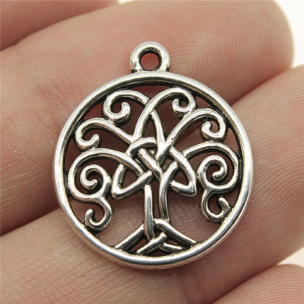 WYSIWYG 8pcs 23x20mm Triquetra Symbol Life Tree Charms Antique Silver Triquetra Life Tree Charms Triquetra Symbol Life Tree