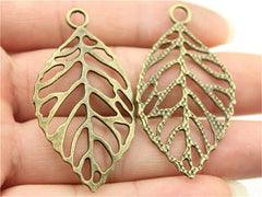 WYSIWYG 3pcs 49x26mm 2 Colors Antique Silver, Antique Bronze Plated Hollow Leaf Pendant Leaf Pendant Diy Big Hollow Leaf Charm