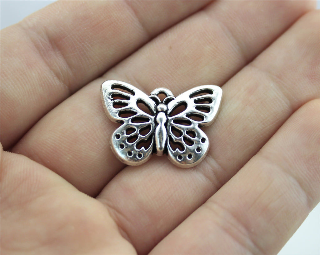 WYSIWYG 4pcs 25x18mm Butterfly Pendants For Jewelry Making Butterfly Charm Antique Silver Color Butterfly Charm