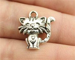 WYSIWYG 6pcs 19x17mm Pendant Smile Cat Smile Cat Charm Pendants For Jewelry Making Antique Silver Smile Cat Pendants