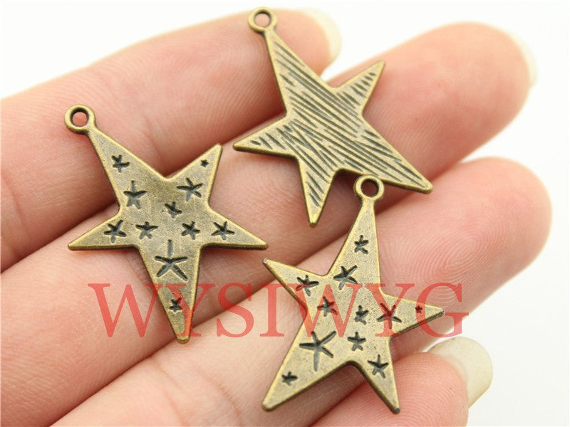 WYSIWYG 6pcs 28x21mm Vintage Star Pendants Charm For Jewelry Making Antique Bronze Color Star Pendants Charm Star