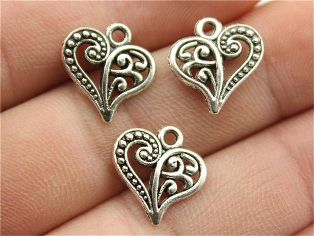 WYSIWYG 12pcs 15x14mm 3 Colors Antique Gold, Antique Silver, Antique Bronze Heart Charm Small Heart Charm Tiny Heart Charm