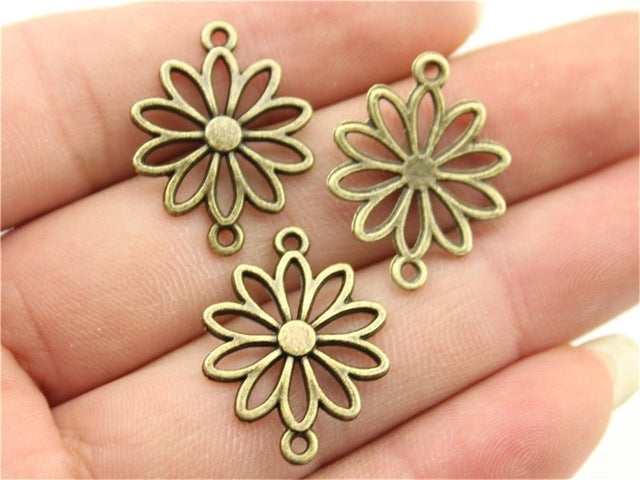 WYSIWYG 15pcs 25x19mm Pendant Flowers Connector Vintage Charms Flower Connector Diy Flower Connector Charms