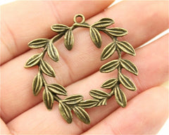 WYSIWYG 3pcs 41x36mm Pendant Olive Branch Olive Branch Circle Charm Pendants For Jewelry Making Olive Branch Pendants