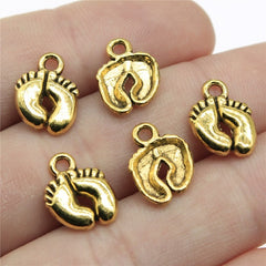 WYSIWYG 12pcs 13x10mm 3 Colors Antique Gold, Antique Silver, Antique Bronze Charms Baby Feet Charms Little Feet Charm Feet