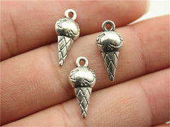 WYSIWYG 12pcs 19x8x4mm Pendant Ice Cream Ice Cream Charm Pendants For Jewelry Making Antique Silver Ice Cream Pendants