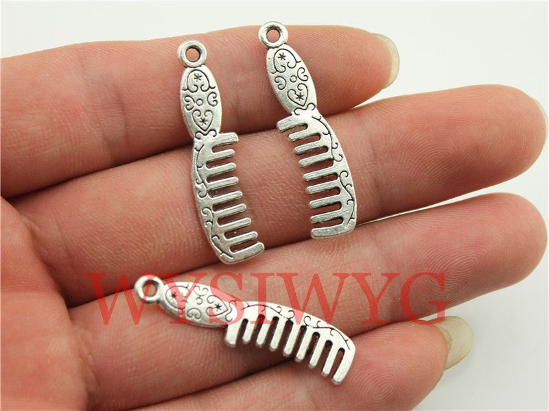 WYSIWYG 10pcs 35x9mm Comb Charm Pendants For Jewelry Making Antique Silver Comb Pendants Charm Comb