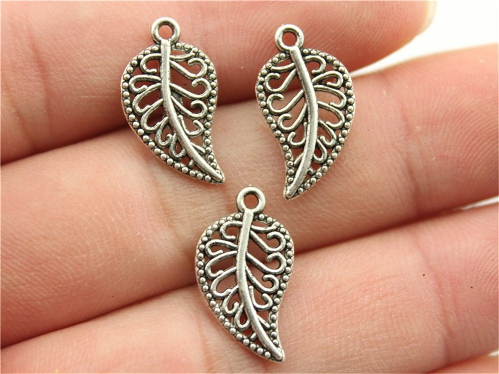 WYSIWYG 20pcs 18x10mm Small Leaf Charms Lot Small Leaf Charms 2 Colors Antique Bronze, Antique Silver Color Leaf Charm Diy