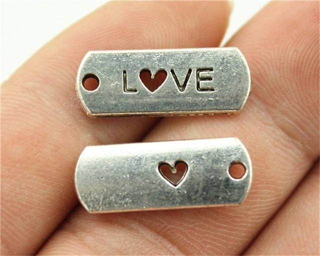 WYSIWYG 8pcs 21x8mm 2 Colors Antique Silver, Antique Bronze Plated Love Charms Love Heart Plate Charms Love Heart Charms