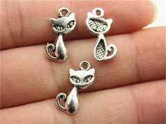 WYSIWYG 20pcs 17x9mm Pendant Cat Cat Charm Pendants For Jewelry Making Antique Silver Fox Pendants