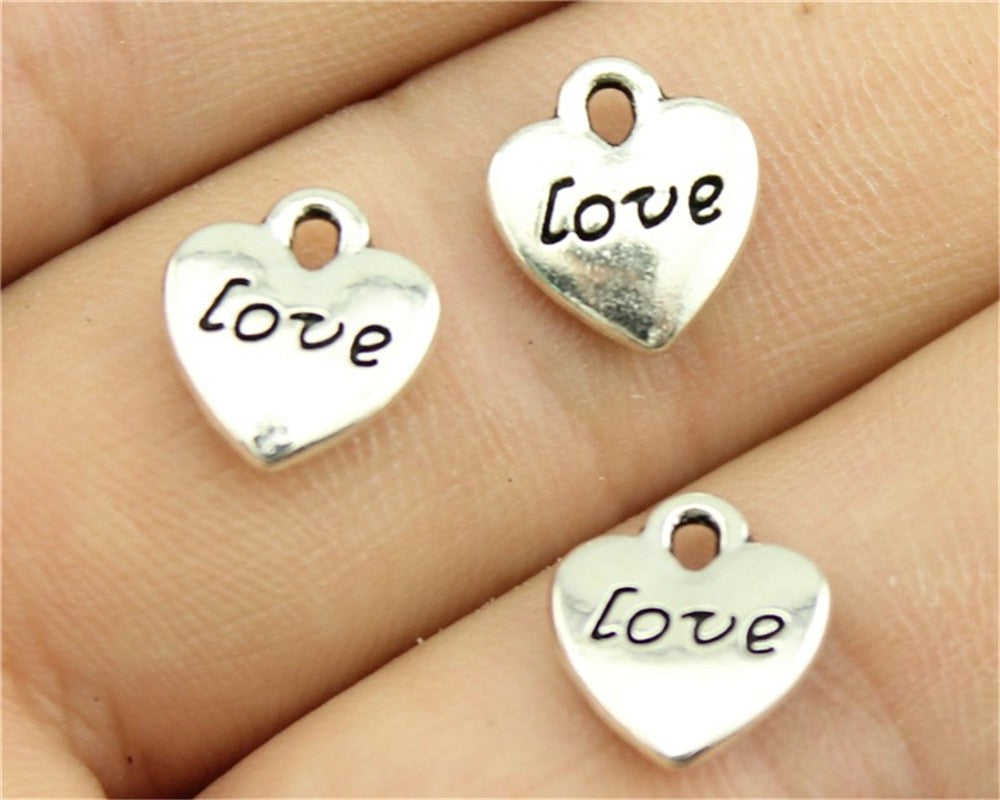 WYSIWYG 20pcs 11x10mm Antique Silver, Antique Bronze Double Sided Love Heart Charms Tiny Heart Love Charms Love Heart Charms