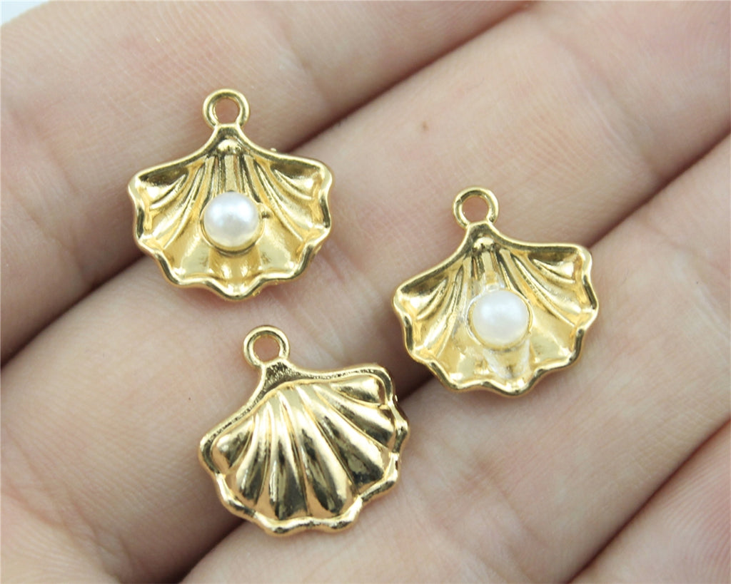 WYSIWYG 4pcs 20*10*4mm KC Gold Color Beach Tourism Souvenir Pearl Shells Gifts Charms