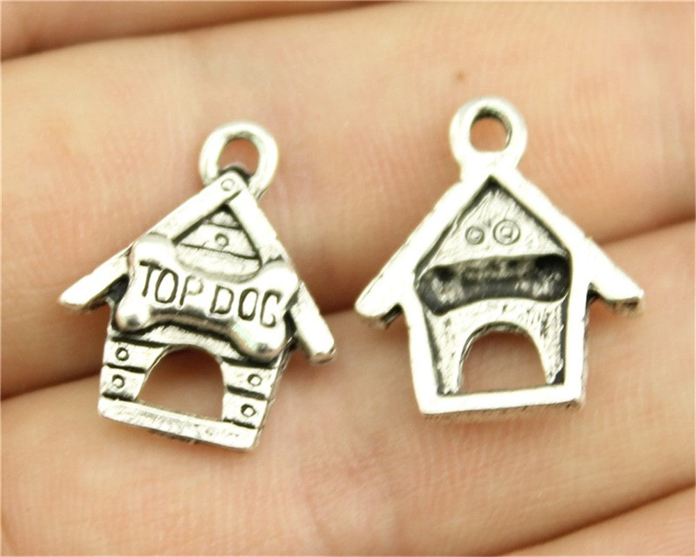WYSIWYG 6pcs 19x16mm 2 Colors Antique Silver, Antique Bronze Plated Top Dog Pendant Top Dog Charm Pendant Dog House Pendant
