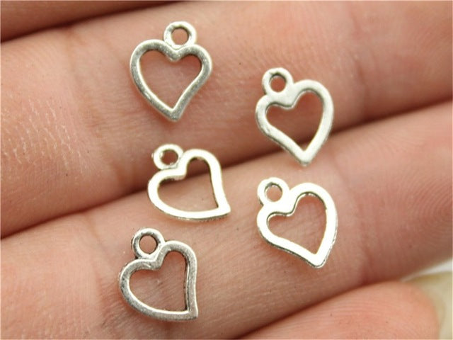 WYSIWYG 60pcs 10x8mm Antique Silver, Antique Bronze Mini Heart Charm Cute Heart Charms For Jewelry Making Small Heart Charm
