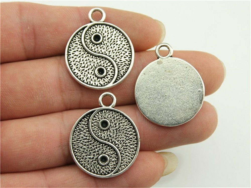 WYSIWYG 8pcs 23x23mm Antique Silver, Antique Bronze Yin And Yang Charm Chinese Taoism Sign Tai Chi Pendant Yin Yang Pendant
