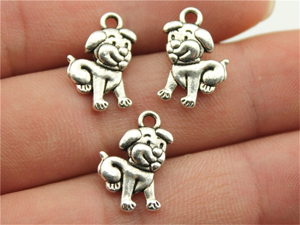 WYSIWYG 10pcs 17x12mm Dog Charm Antique Silver Color Dog Pendant Cute Dog Pendants For Jewelry Making