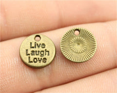 WYSIWYG 10pcs 12mm Small Size Round Live Laugh Love Charm Antique Silver Color Live Laugh Love Charms Live Laugh Love Charms
