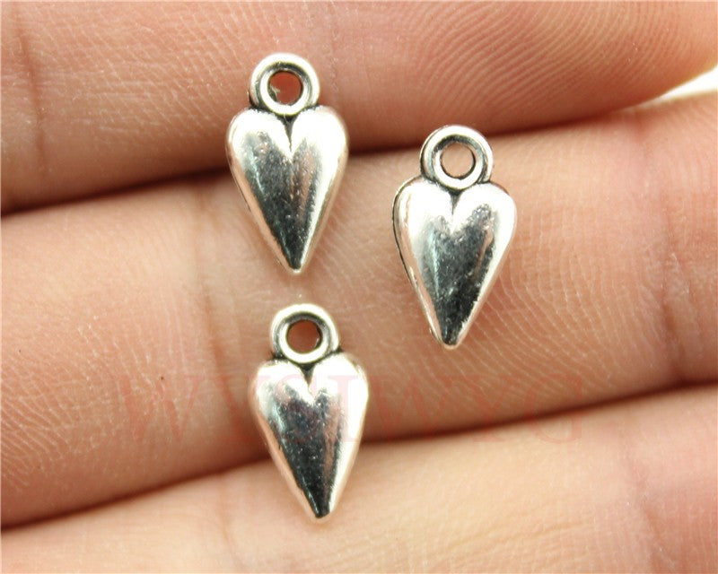 WYSIWYG 10pcs 13x17mm Antique Silver Color Heart Charms Tiny Heart Charms Mini Heart Charm For Jewelry Making