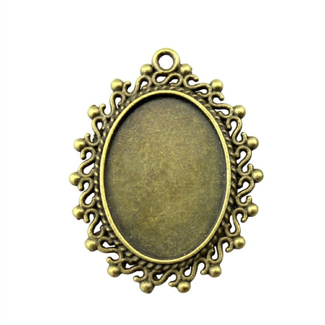 10pcs 18x25mm Inner Size, 38x29mm Outer Size, Antique Cabochon Base Pendant