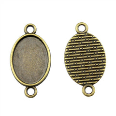 20pcs 13*18mm Inner Size 2 Colors Antique Bronze, Antique Silver Oval Cabochon Base Cameo Setting Pendant