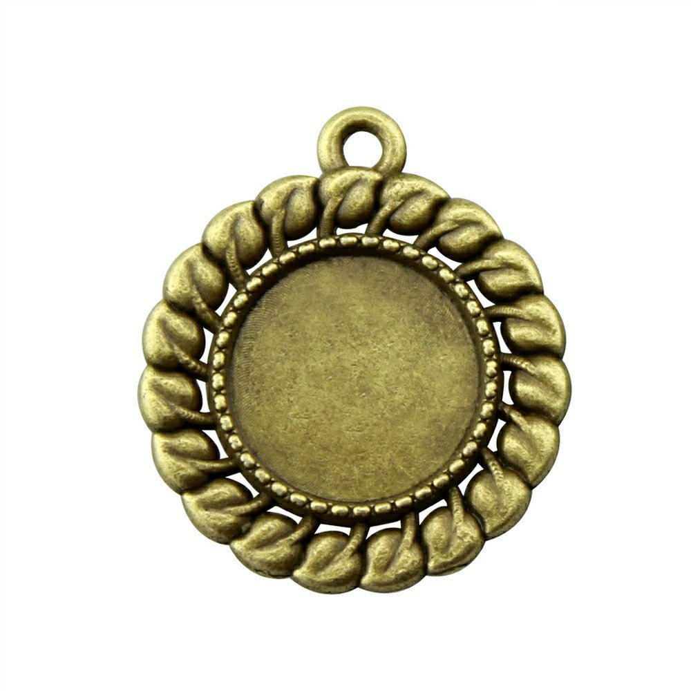 20pcs 12mm Inner Size Antique Bronze Grass Cameo Cabochon Base Setting Charms Pendant