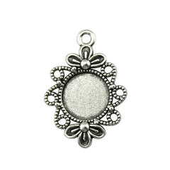20pcs 12mm Inner Size, 30*20mm Outer Size Vintage Antique Silver, Antique Bronze Color Alloy Flower Cameo Cabochon Base Setting