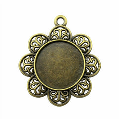10pcs 20mm Inner Size, (39x35mm Outer Size), Antique Cabochon Base Pendant