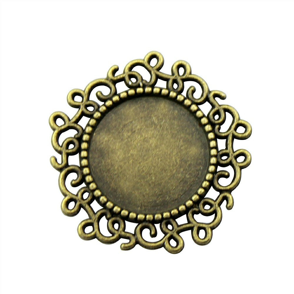 10pcs 14mm Inner Size, (24x24mm Outer Size), Antique Cabochon Base Setting