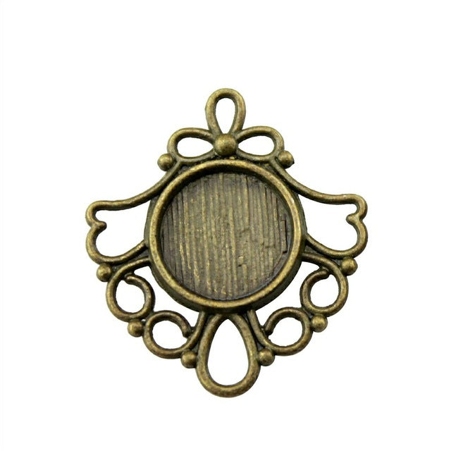 20pcs 12mm Inner Size Antique Bronze Color Gifts Round Cabochon Pendant Setting Blank Pendants For Jewelry Making