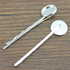 10pcs 12mm, Glass Cabochon Hairpin Hair Clips Base