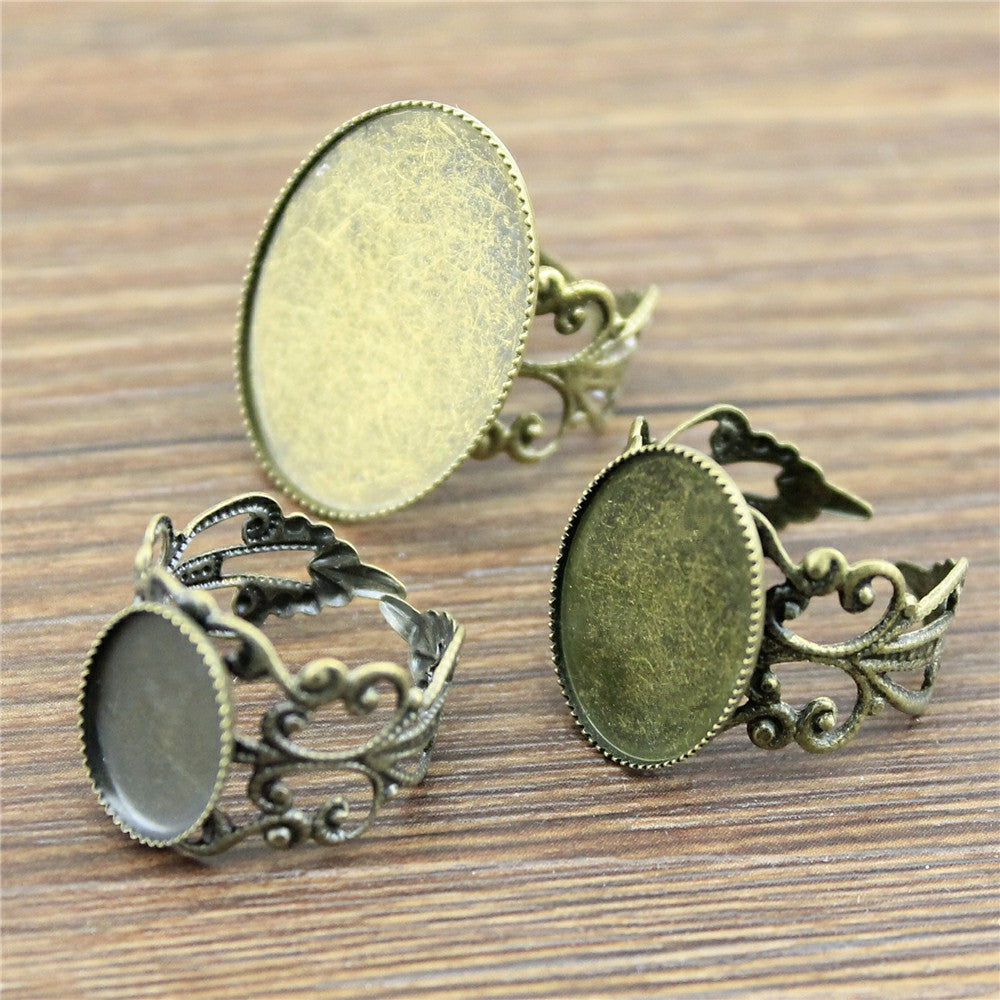 10pcs Antique Cabochon Saw-tooth Edge Adjustable Ring Settings