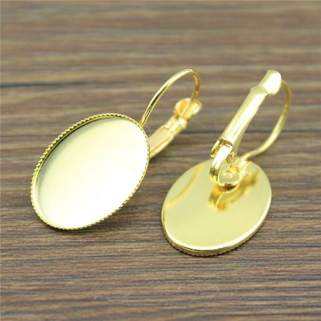 10pcs Cabochon Saw-tooth Edge French Lever Back Earrings Base