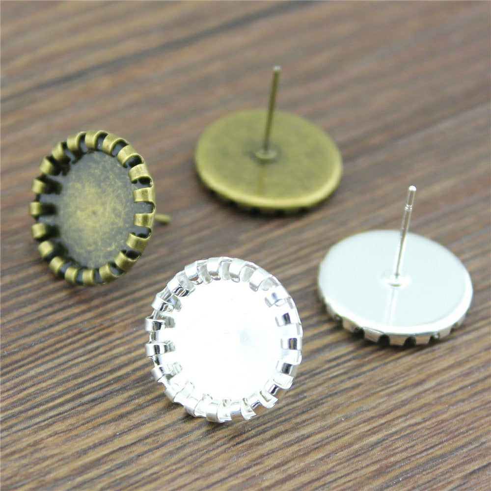 10pc 12mm, Glass Cabochon Earring Studs, Crimping Earrings Base