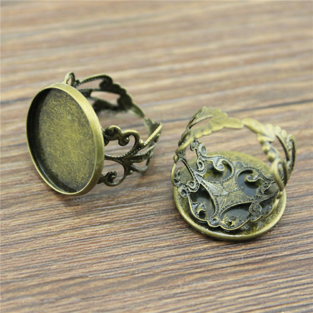 10pcs  Antique Cabochon Lace Adjustable Ring Setting