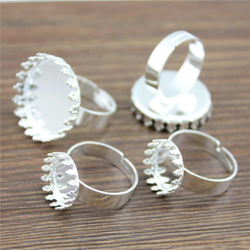 10pcs 12x20mm,  Antique Cabochon  Crown Edge Adjustable Ring Setting