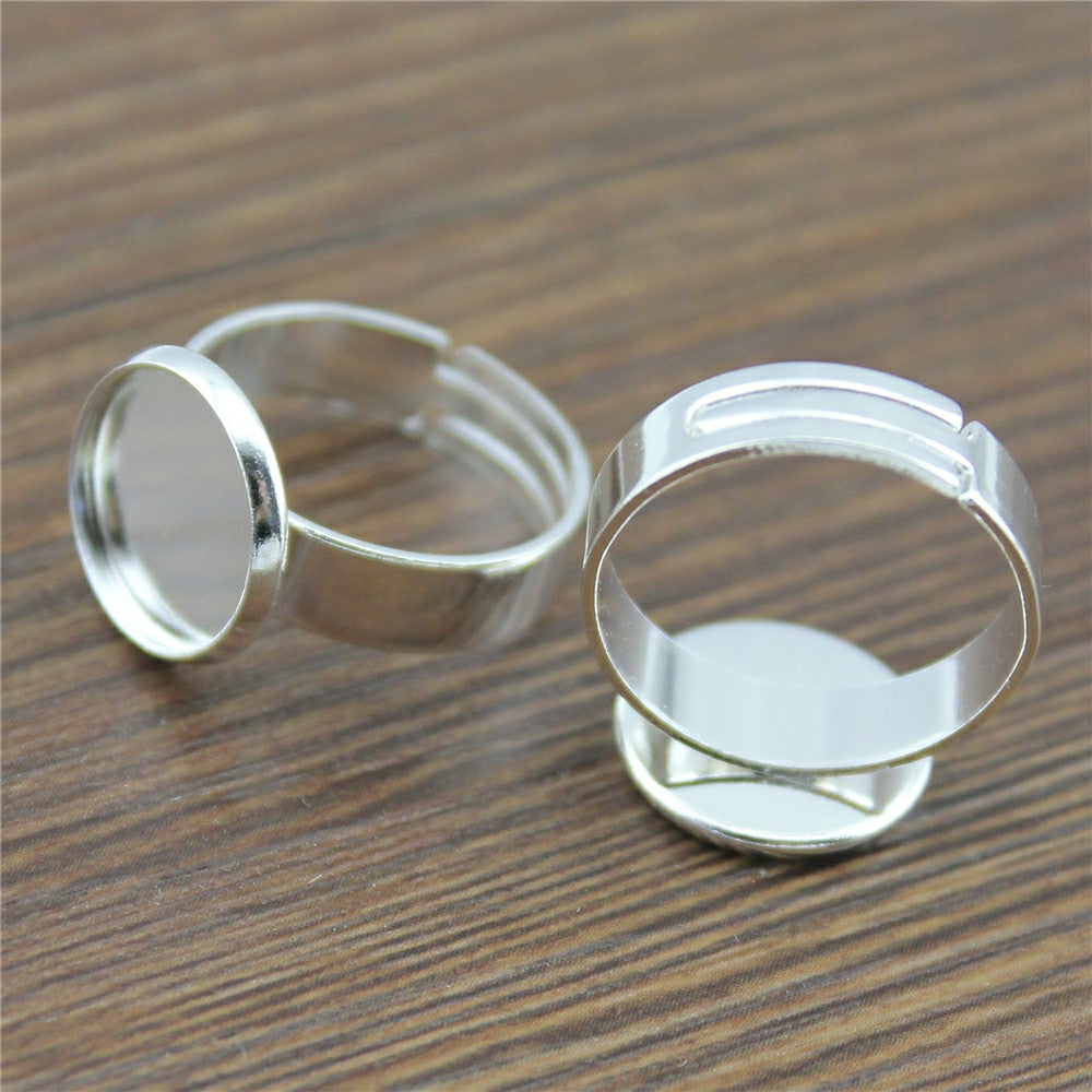 10pcs 12mm, Cabochon Wide Ring Around Adjustable Ring Setting