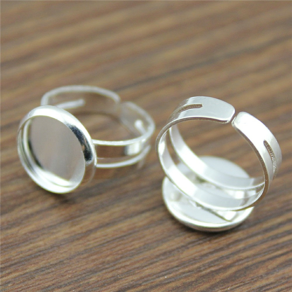 10pcs 10mm, Cabochon Glass Adjustable Kid's Ring Settings