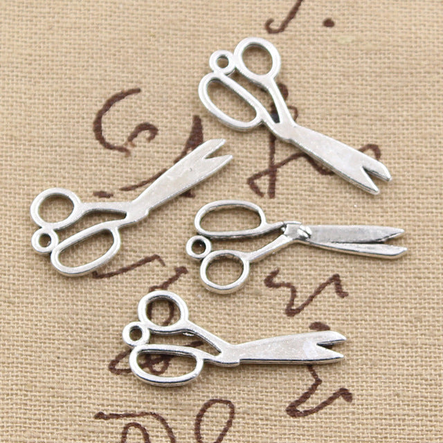 10pcs 30mm, Antique Scissors Charm/ pendant