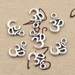 10pcs 15x10mm, Antique  Yoga OM Charm/ Pendant