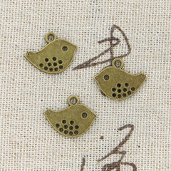 10pcs 16x13mm, Antique double sided lovey bird Charm