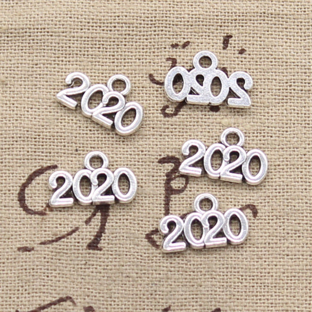 10pcs  9x13mm, Antique 2017-2020 year Charm/ pendant