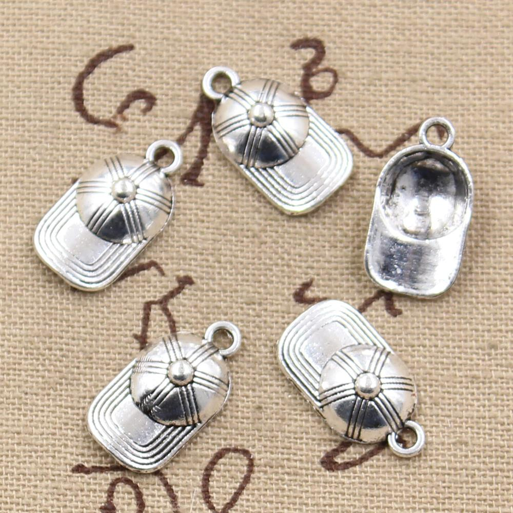 10pcs  20X10mm, Antique Baseball ball cap hat Charm/ Pendant