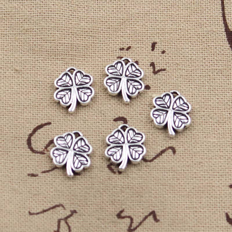 10pcs 13mm, Antique lucky Irish four leaf clover Charm/ Pendant