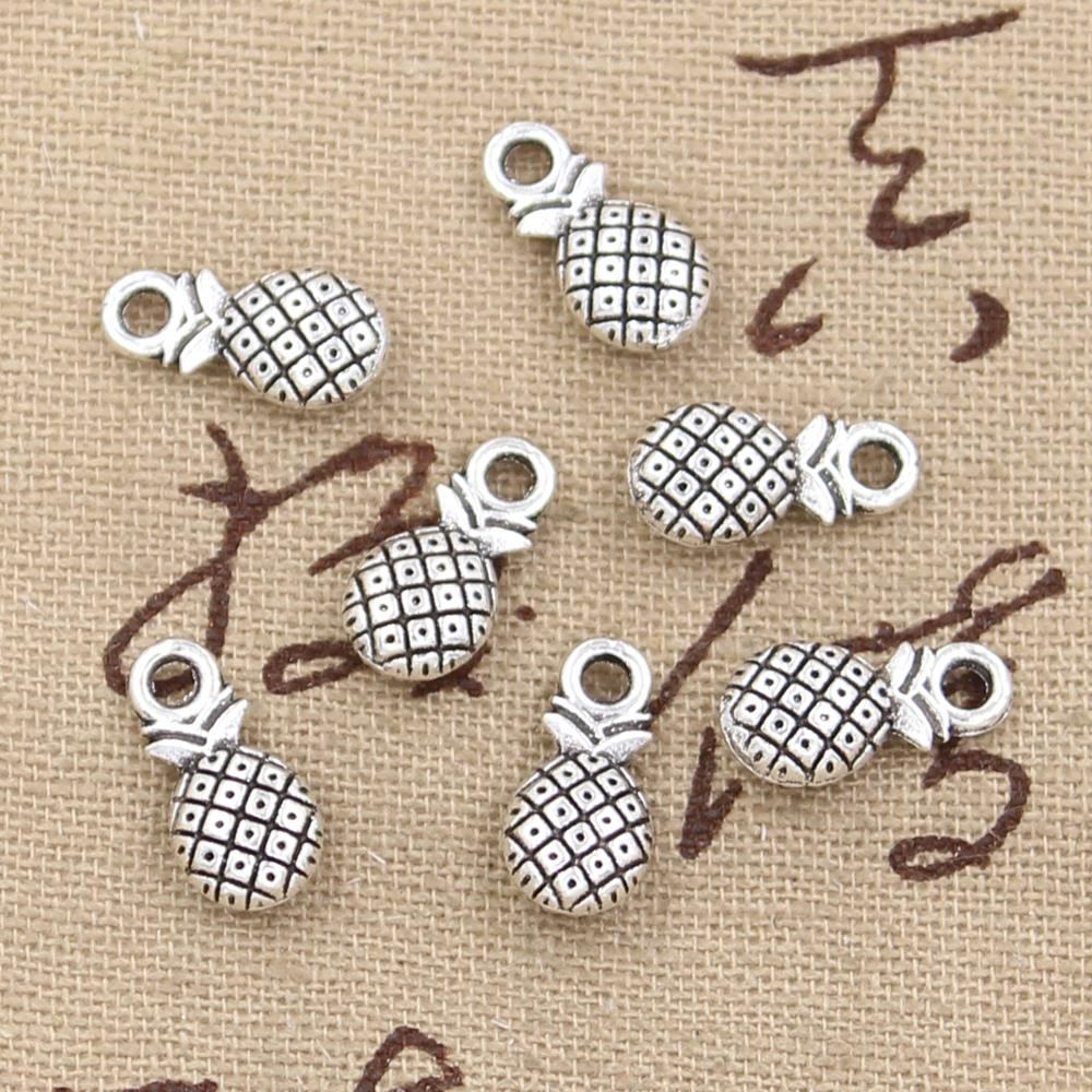 10pcs 14x7mm, Antique double sided pineapple Charm/ Pendant